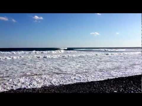 Huge waves on windy spring say in Nova Scotia