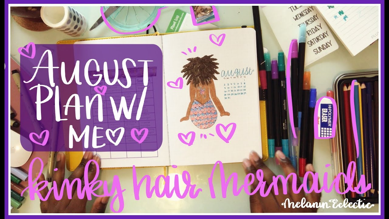 Bullet Journal | August 2020 PWM |Kinky Hair Mermaids