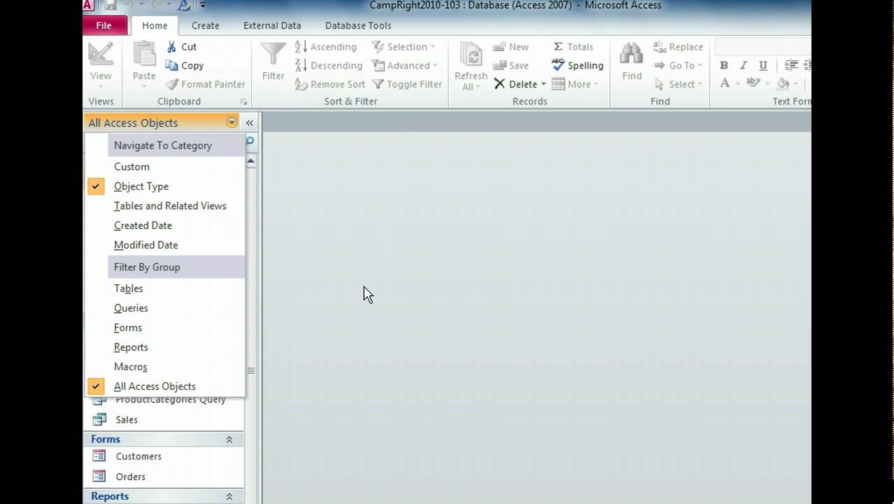 Access 2010 - Look at the Navigation Pane - Microsoft Office 2010 ...