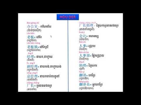 រៀនភាសាចិន - ពាក្យរោងចក្រ - 学习中文 - 工厂的生词.