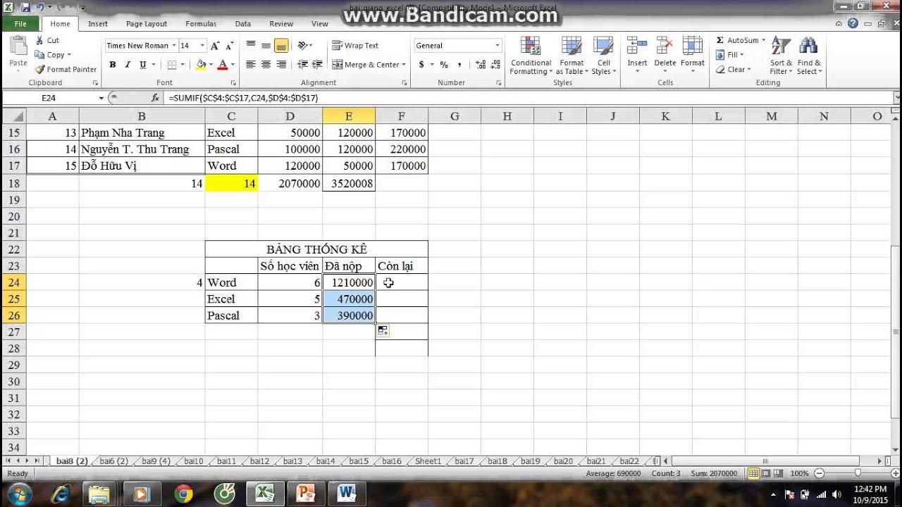Cách sử dụng hàm Sumif trong Ms Excel – Địa chỉ học tin văn phòng tốt nhất HÀ Nội