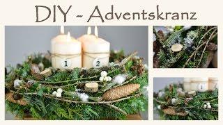 DIY - Adventskranz selber machen im Shabby Chic Stil I Naturmaterial mit einem Hauch Weiß I How to