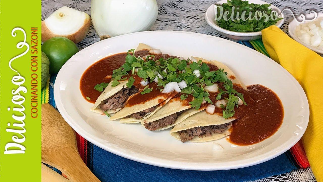 Tacos Bañados Estilo Monterrey Tacos Bañados Bathed In Red Sauce