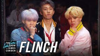James and the members of Korean pop sensation BTS play a game of Fl...