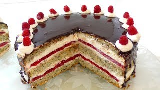 ТОРТ СО СЛИВКАМИ И МАЛИНОВЫМ КОМПОТЕ.Cake with cream and raspberries