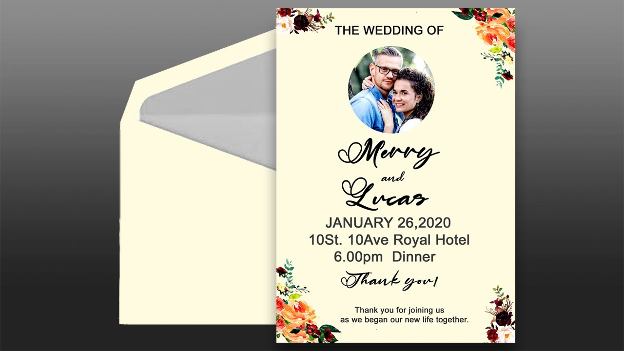 how to design wedding invitation card in photoshop  youtube
