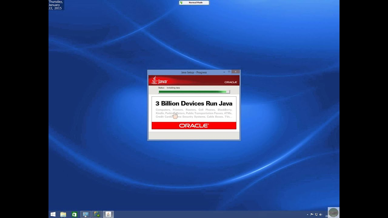 Java version 8 update 25 then 31 in Windows 8 1