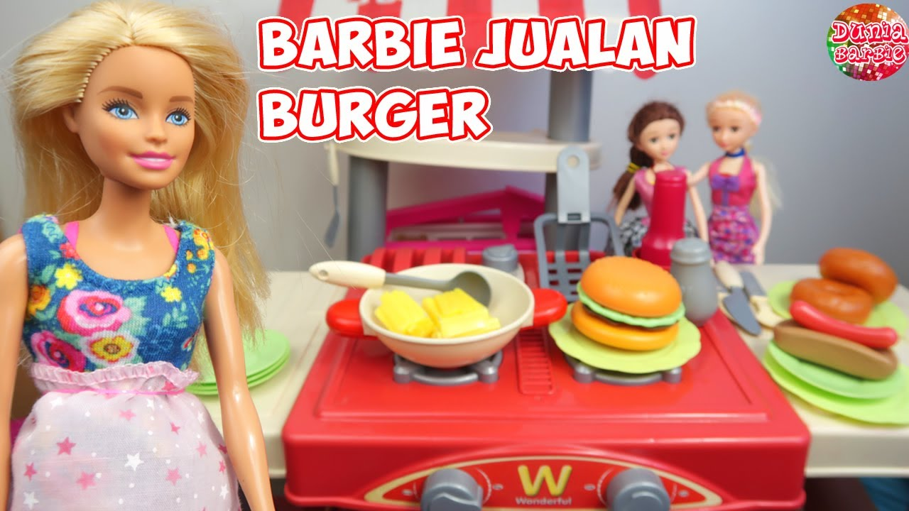 Barbie Hamil Jualan Makanan Burger Hot Dog Main Masak Masakan Mainan Anak Perempuan Youtube