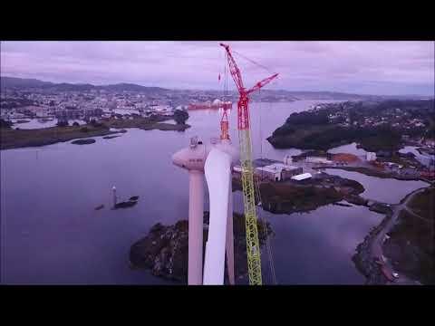 Storøy Vindpark - construction of 2 Enercon E-115 92 m, Karmøy Haugesund, Norway