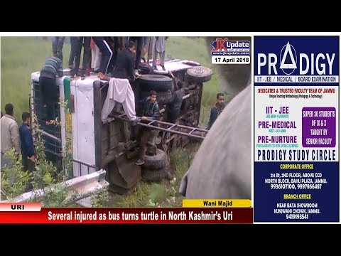 Several injured as bus turns turtle in North Kashmir's Uri