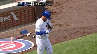 SD@CHC: Bryant gets ovation before first MLB at-bat