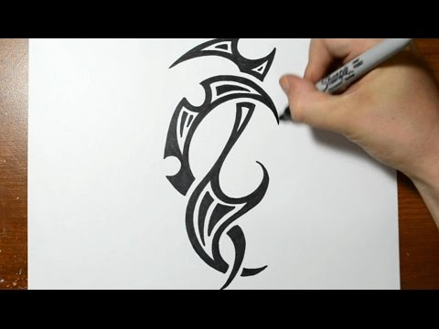 Drawing a Cool Tribal Tattoo Design - Sketch 4