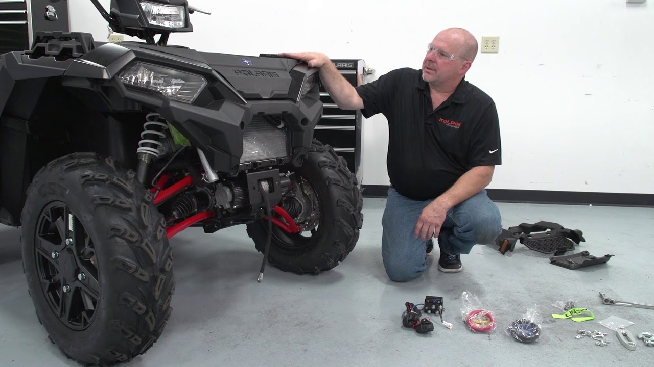 Atv Winch Assembly And Installation Kolpinoutdoors Youtube Diagram Further Warn Wiring On Badland Wire