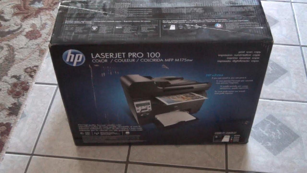 hp laserjet 100 color printer m175nw unboxing youtube - Laserjet 100 Color Mfp M175nw