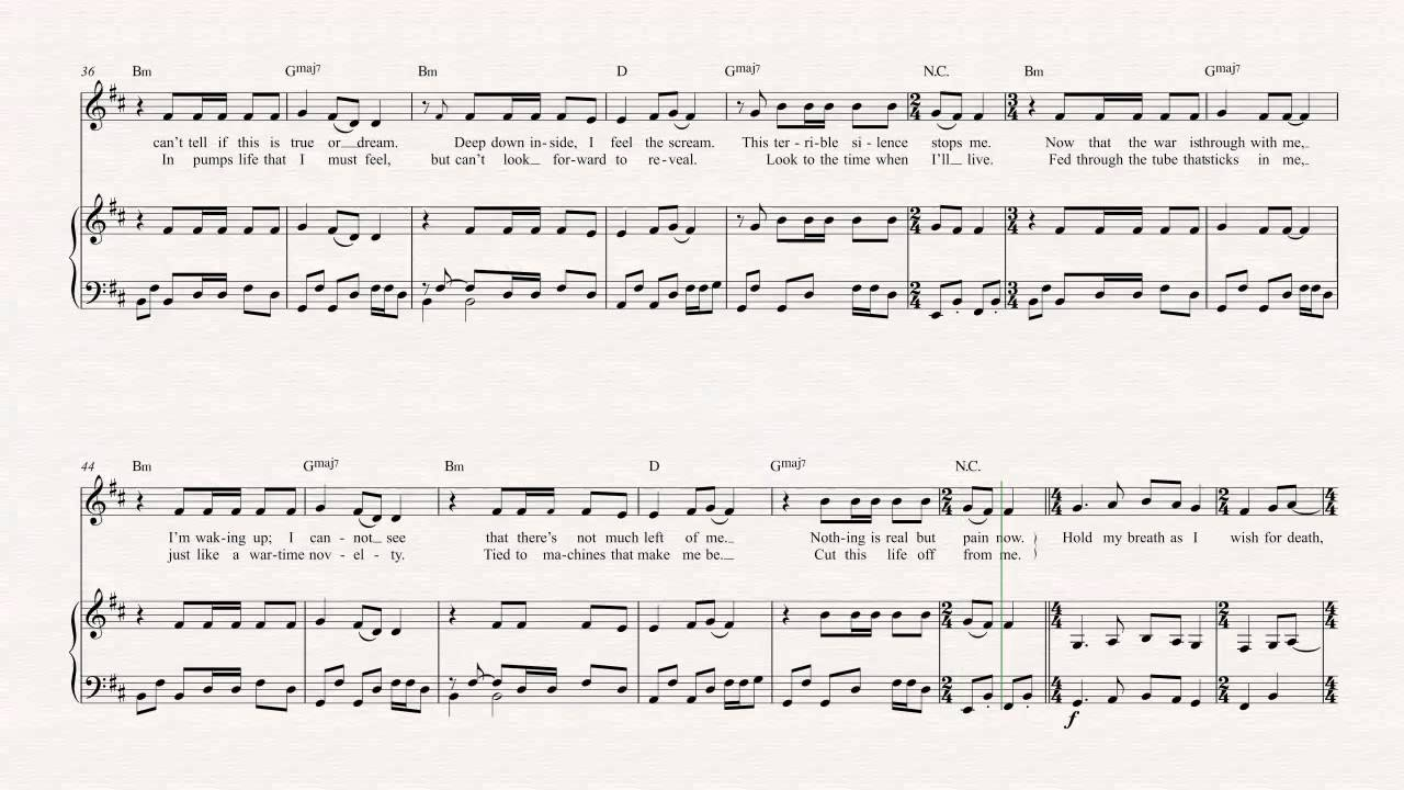 Violin - One - Metallica Sheet Music, Chords, & Vocals ... - photo#27