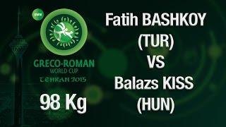 Group B, Round 2 - Greco-Roman Wrestling 98 kg - B. KISS (HUN) vs F. BASHKOY (TUR) - Tehran 2015