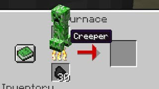 Smelting a Creeper in Minecraft