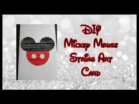 DIY Mickey Mouse String Art Card