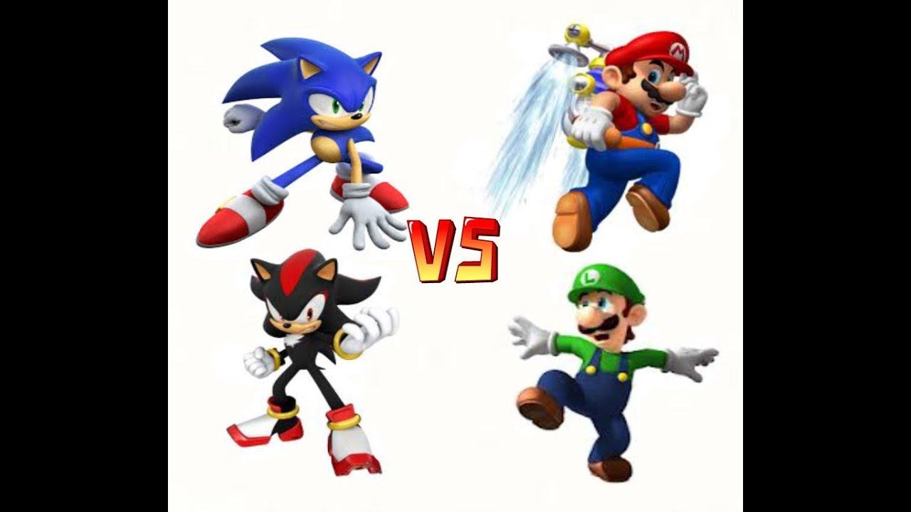 Mario y Luigi vs Sonic y Shadow  YouTube