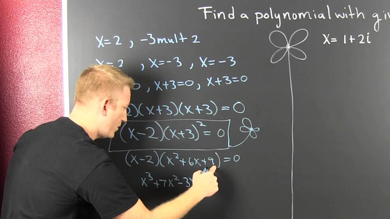 Find a polynomial of least degree with given zeros complex youtube falaconquin