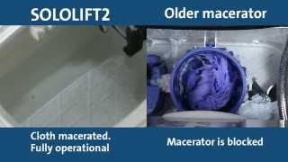 SOLOLIFT2 -- designed not to clog(Foreign objects besides toilet paper are not recommended to be thrown into a toilet equipped with a macerator. This video is a demonstration only of how the ..., 2014-05-15T10:20:42.000Z)