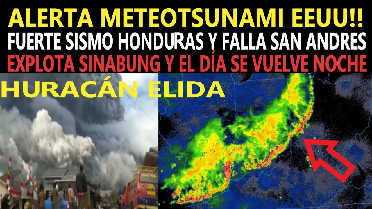 Sinabung Vuelve Día en Noche /Sismo Falla San Andres y Honduras / Alerta Meteotsunami /Huracán Elida