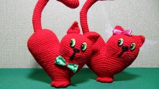 Валентинка Сердце-Кот крючком. Подробный МК. Часть1.