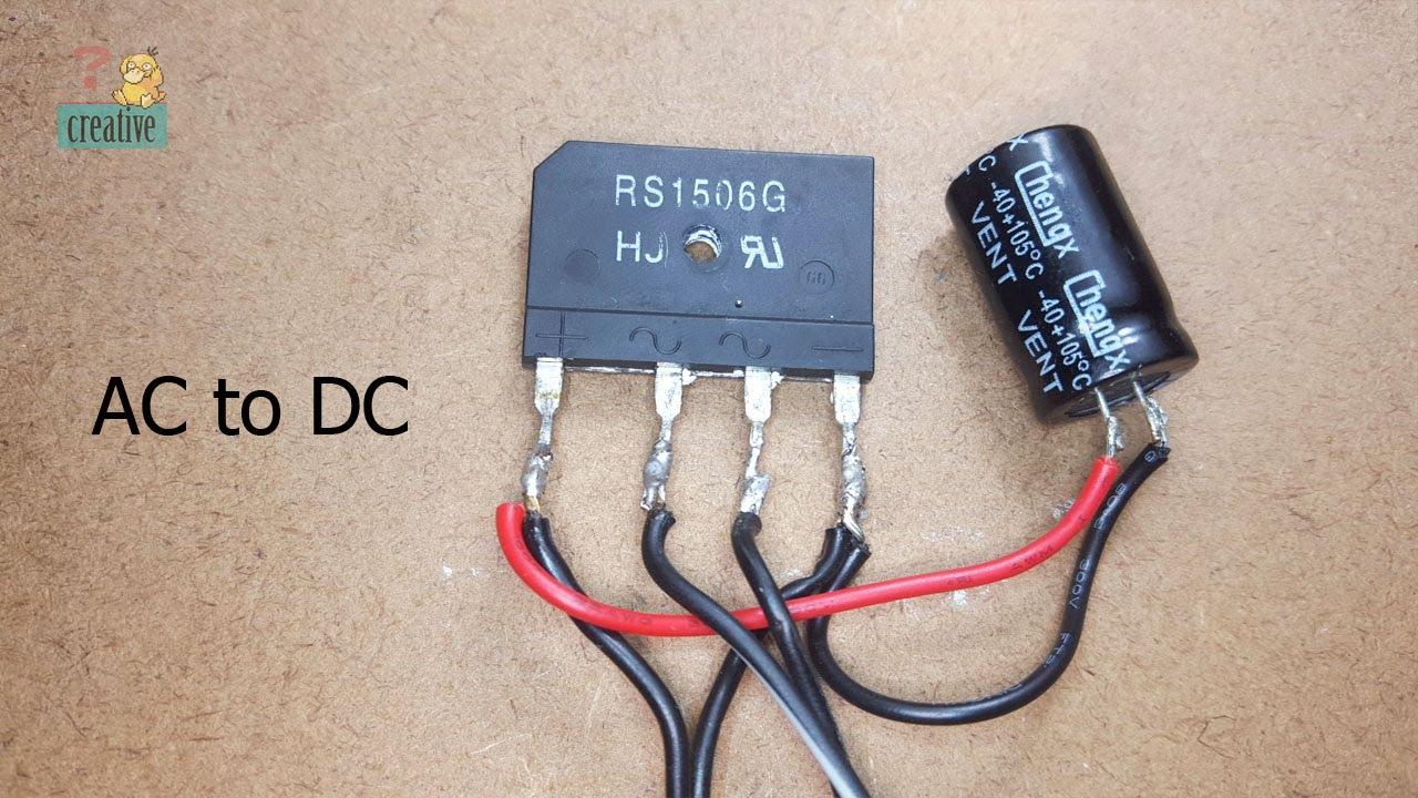 ac to dc using bridge diode and capacitor bridge rectifier [ 1280 x 720 Pixel ]