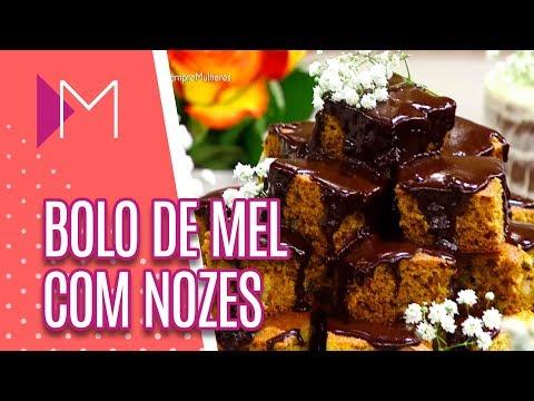 Bolo de mel com nozes e calda de chocolate - Mulheres (17/04/18)