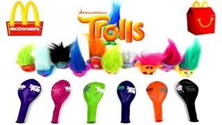 2016 McDONALD'S DREAMWORKS TROLLS MOVIE HAPPY MEAL TOYS BALLOONS WORLD SET COLLECTION 6 COLORS UK US