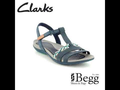 fc8546098c39 Clarks Tealite Grace D Fit Navy sandals - YouTube