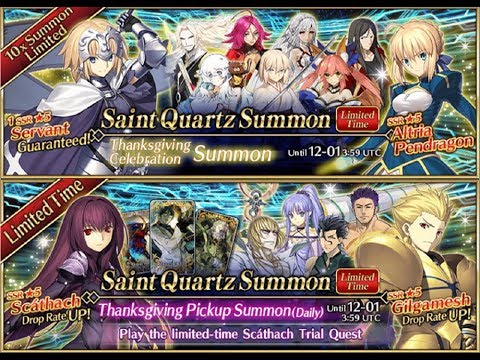 Fate Grand Order | Thanksgiving Event 5 Star Servant & Scathach Summoning Banner