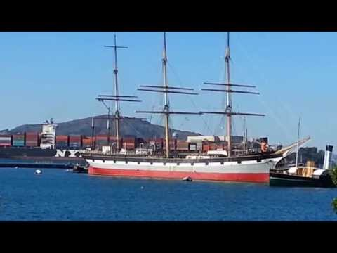 Balclutha vs Container Ship NYK Line Constellation. Hyde Street Pier San Francisco Sept 20, 2015