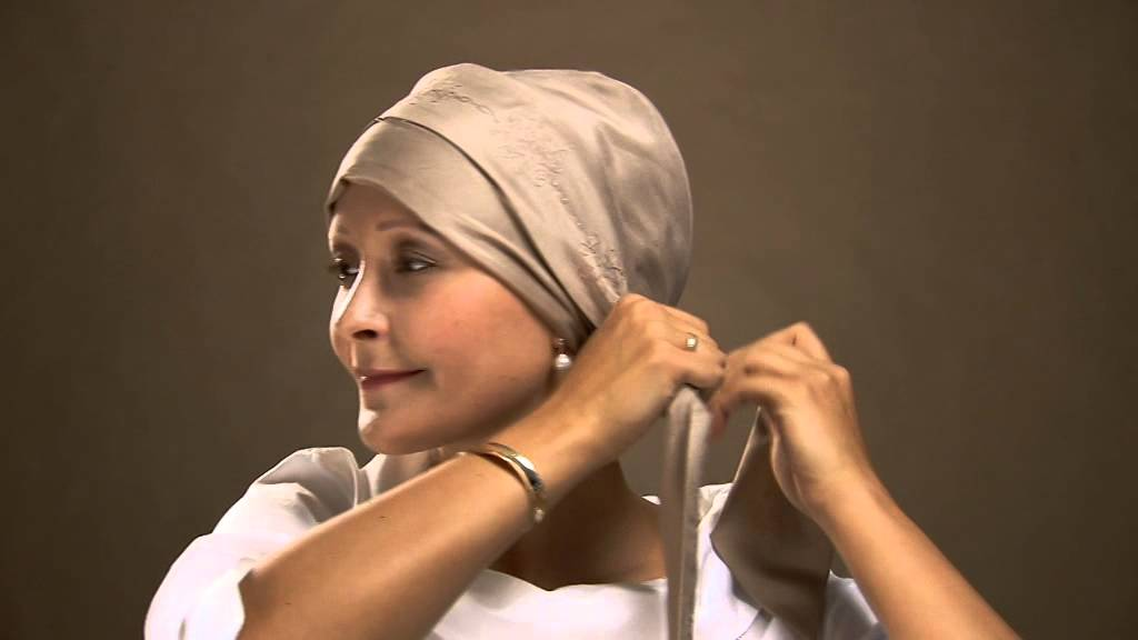 how to tie a designer chemo headscarf by christine
