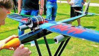 VERY FAST HJK MONSTER RC SPEEDER WITH TURBINE ENGINE MAIDEN FLIGHT DEMONSTRATION