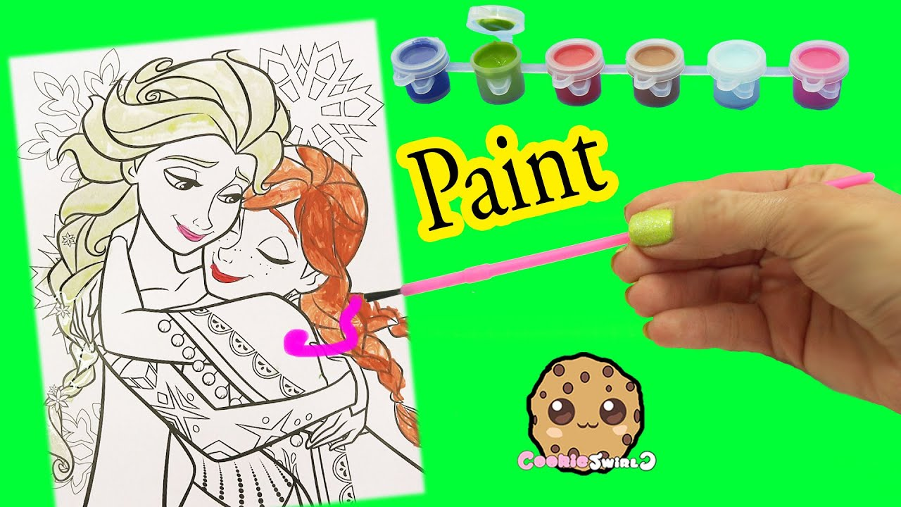 Disney Frozen Coloring Paint Set - Painting Queen Elsa & Sister Anna ...