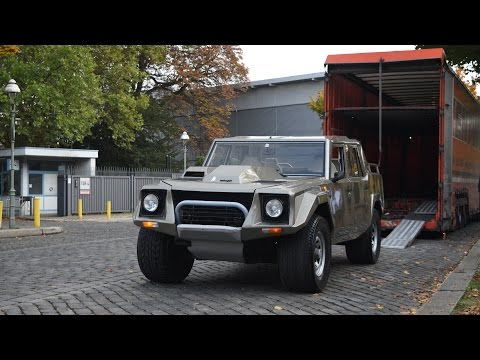 RARE Lamborghini LM-002 being delivered at Classic Remise Berlin !