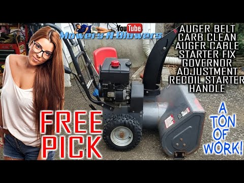 "FREE CRAFTSMAN 5.5HP 26"" OHV SNOW BLOWER AUGER CABLE CARBURETOR CLEAN RECOIL STARTER REPLACEMENT FIX"