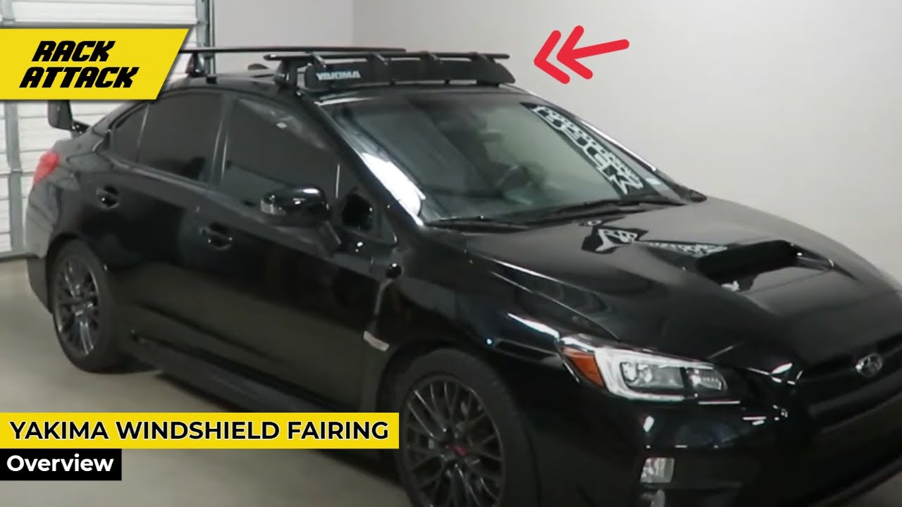 Yakima 46 Inch WindShield Fairing on Subaru WRX STI from Rack Outfitters - YouTube