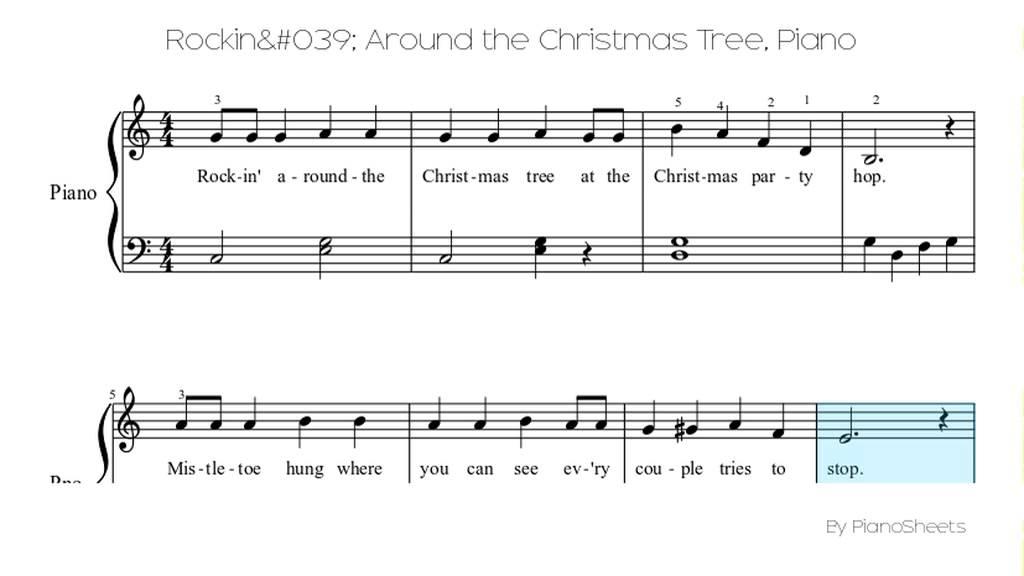 Rockin Around The Christmas Tree Piano Sheet Music.Rockin Around The Christmas Tree Piano Solo