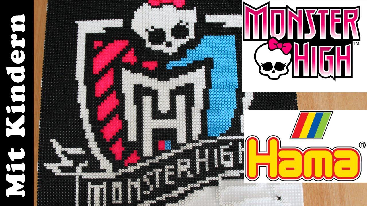 MonsterHigh Wappen mit Hama-Perlen stecken - mit Steck-Vorlage - YouTube