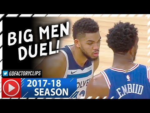 Joel Embiid vs Karl-Anthony Towns BIG MEN Duel Highlights (2017.12.12) - EPIC BATTLE!