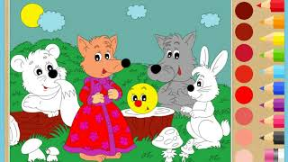 "Раскраска ""Колобок"".  Раскраски для детей. Колобок. медведь,лиса,волк и заяц"