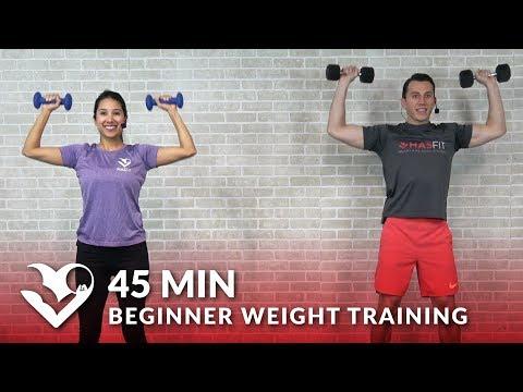 45 Min Beginner Weight Training for Beginners Workout Dumbbell Strength Training for Women & Men