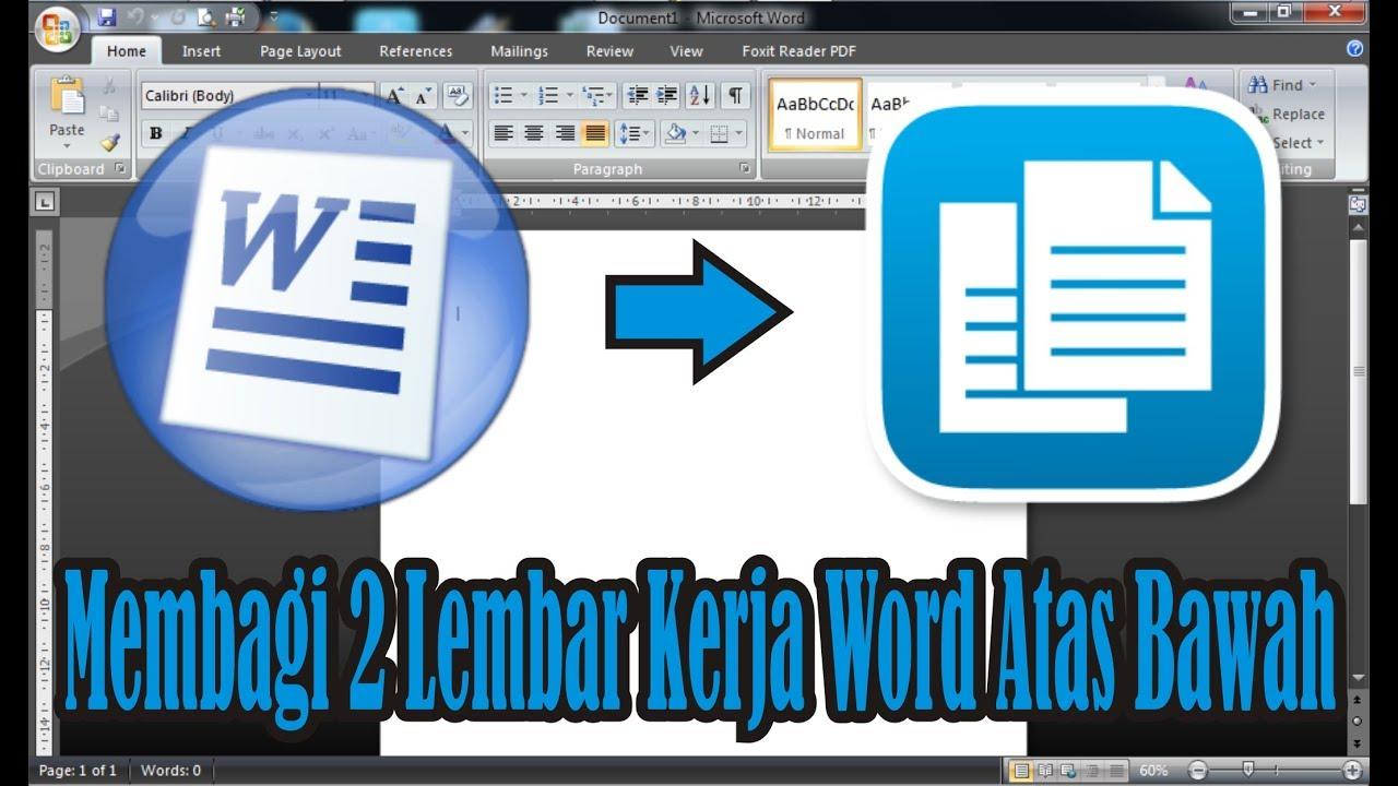 Tutorial Cara Membagi 1 Halaman Menjadi 2 Pada Lembar Kerja Word 2007 Simple News Video Youtube