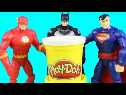 Total Heroes Batman Superman Flash & The Riddler Action Figures With Play-Doh Playdoh