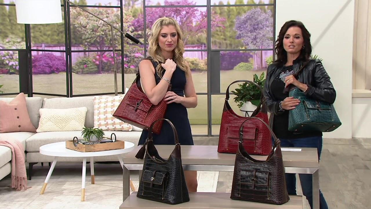 Dooney Bourke Savannah Croco Embossed Leather Hobo Handbag On Qvc