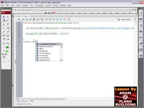JavaScript Popup Window in Flash ActionScript 3 Tutorial