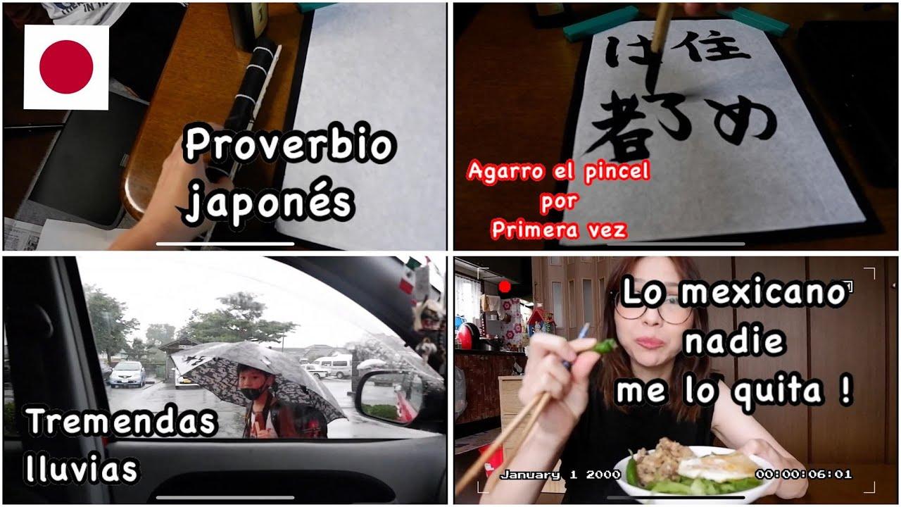 mi primera vez usando el pincel+caligracia Japonesa+llovio como nunca+videovlog japon