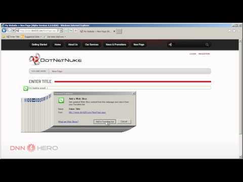 DotNetNuke Tutorial - Can I have a Web Slice please? - Video #317